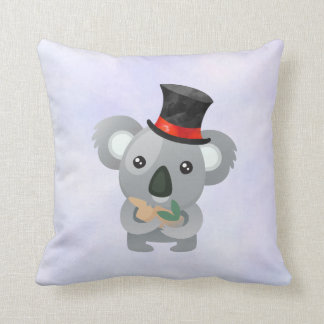 Cute Koala in a Black Top Hat Throw Pillow