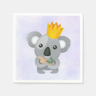 Cute Koala in a Golden Crown Paper Napkin
