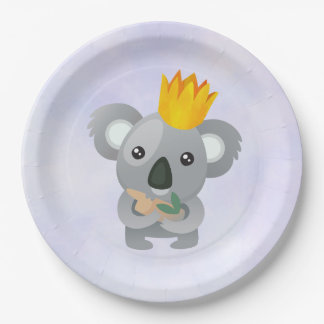 Cute Koala in a Golden Crown Paper Plate