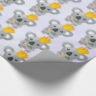 Cute Koala in a Golden Crown Wrapping Paper