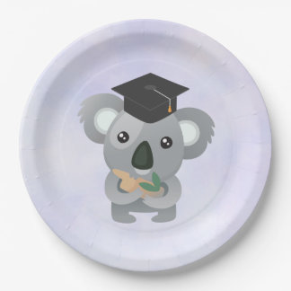 Cute Koala in a Graduation Cap Paper Plate