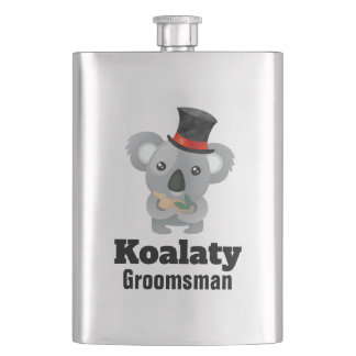 Cute Koala Pun Koalaty Groomsman Hip Flask