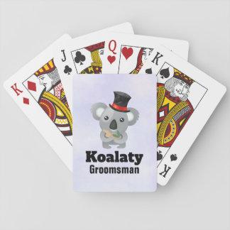 Cute Koala Pun Koalaty Groomsman Playing Cards