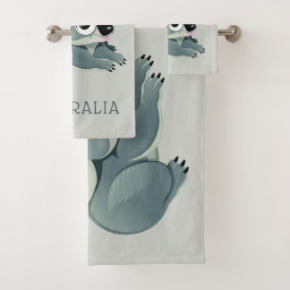 Cute Koalas custom name & text towel set