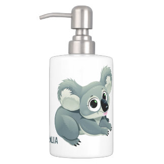 Cute Koalas custom text bathroom set