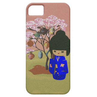 Cute kokeshi Doll with cherry blossom tree Case For The iPhone 5
