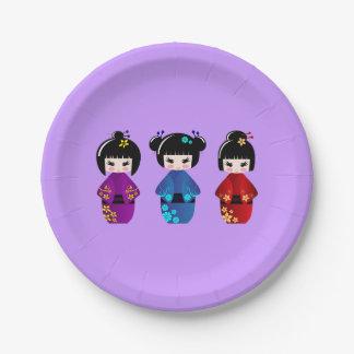 Cute kokeshi dolls cartoon girls 7 inch paper plate