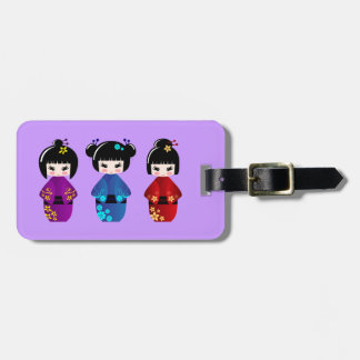 Cute kokeshi dolls cartoon luggage tag