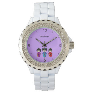 Cute kokeshi dolls cartoon name wrist watches