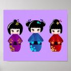 Cute kokeshi dolls cartoon poster