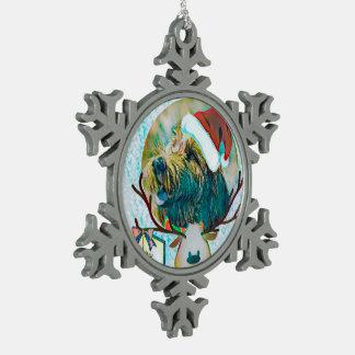 Cute Labradoodle snowflake Christmas ornament