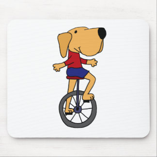 Cute Labrador Dog Riding Unicycle Cartoon Mouse Pad