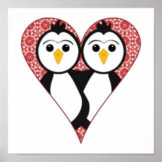 Cute Lace Heart Penguins Posters