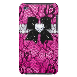 Cute Lace iPod Barely There Glitter Bow Pink Barely There iPod Cover