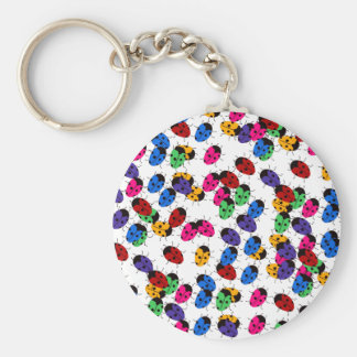 Cute Lady Bug Design Basic Round Button Keychain