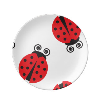 Cute Lady Bug Pattern Porcelain Plate