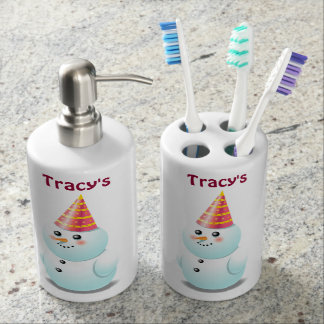 Cute Lady Snowman With Pink Party Hat Bathroom Set