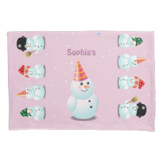 Cute Lady Snowman With Pink Party Hat Pillowcase
