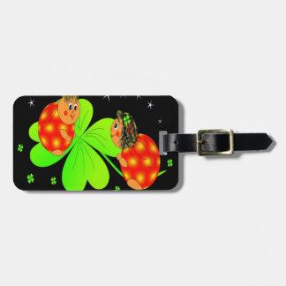 Cute Ladybird Shamrock Luggage Tag