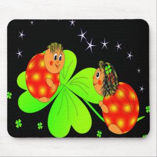 Cute Ladybird Shamrock Mouse Pad