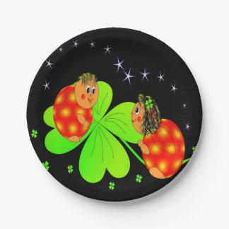 Cute Ladybird Shamrock Paper Plate
