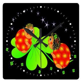 Cute Ladybird Shamrock Square Wall Clock