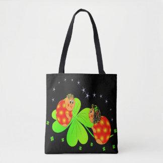 Cute Ladybird Shamrock Tote Bag