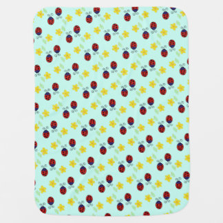Cute ladybirds and yellow daisies on aqua blue stroller blanket