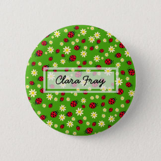 cute ladybug and daisy flower pattern green 2 inch round button