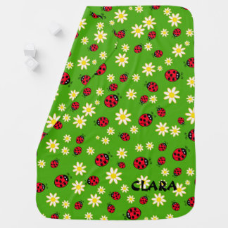 cute ladybug and daisy flower pattern green baby blanket