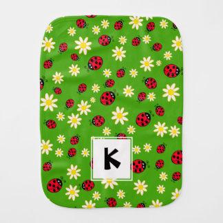 cute ladybug and daisy flower pattern green baby burp cloths