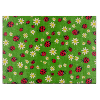 cute ladybug and daisy flower pattern green boards