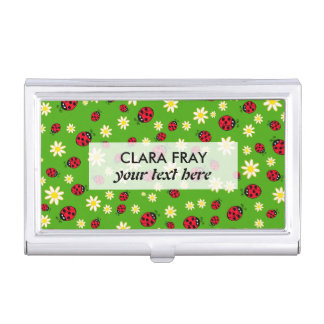 cute ladybug and daisy flower pattern green case for business cards