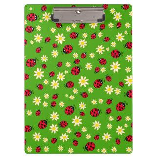 cute ladybug and daisy flower pattern green clipboard