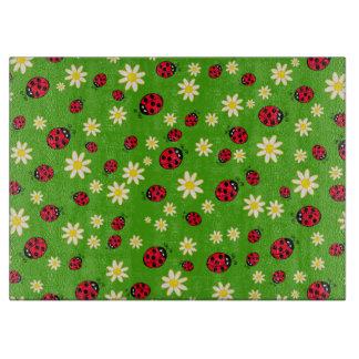 cute ladybug and daisy flower pattern green cutting board