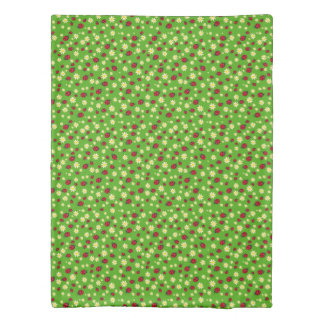 cute ladybug and daisy flower pattern green duvet cover