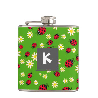 cute ladybug and daisy flower pattern green hip flask