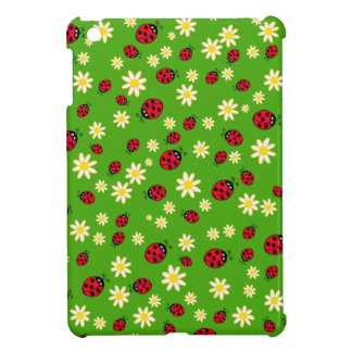 cute ladybug and daisy flower pattern green iPad mini covers