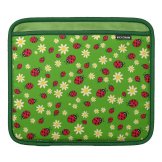 cute ladybug and daisy flower pattern green iPad sleeve