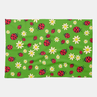 cute ladybug and daisy flower pattern green kitchen towel