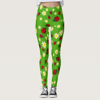 cute ladybug and daisy flower pattern green leggings