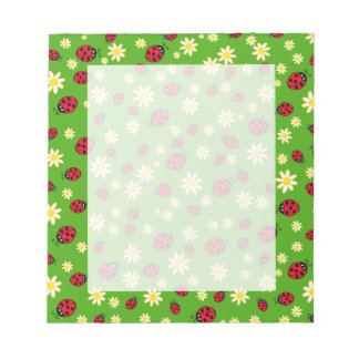 cute ladybug and daisy flower pattern green notepad