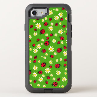 cute ladybug and daisy flower pattern green OtterBox defender iPhone 8/7 case