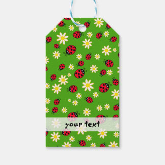 cute ladybug and daisy flower pattern green pack of gift tags