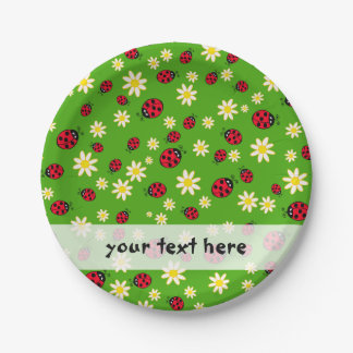 cute ladybug and daisy flower pattern green paper plate