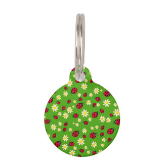 cute ladybug and daisy flower pattern green pet name tag