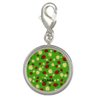 cute ladybug and daisy flower pattern green photo charms