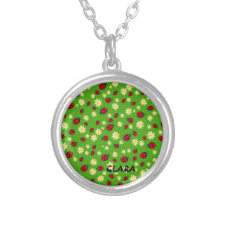 cute ladybug and daisy flower pattern green silver plated necklace