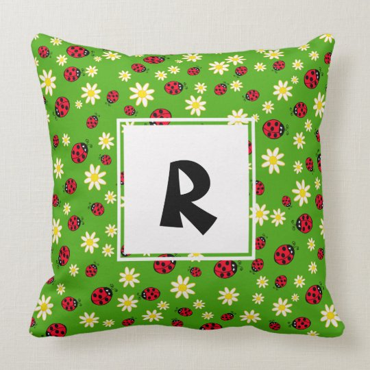 cute ladybug and daisy flower pattern green throw pillow