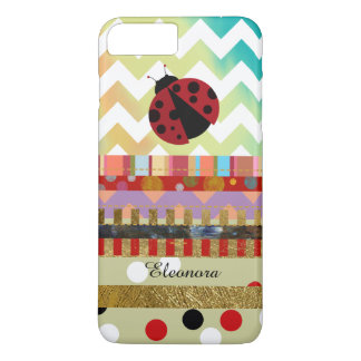 cute ladybug and different stripes Case-Mate iPhone case